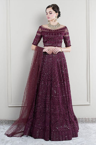 Navy Embroidered Lehenga Set