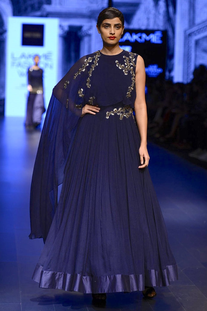 The Arcadia Blue Cape Anarkali