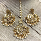 Kundan style earrings and tikka set-  Ready to ship