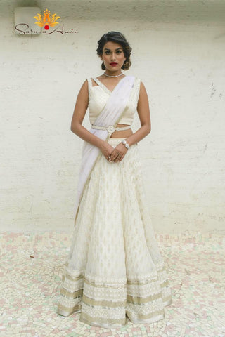Ivory Strapless Lehenga with Half Cape- Ready To Ship
