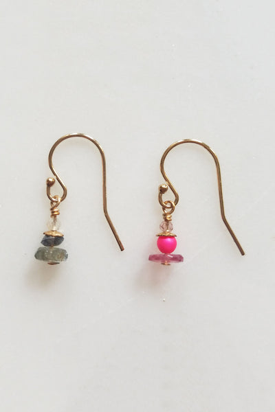 Cobamae - Pink & Grey earrings