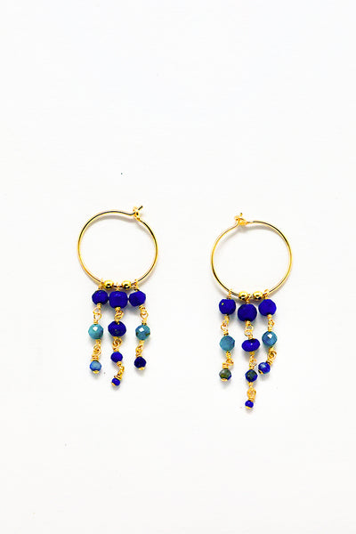 Cobamae - Blue Chandelier Hoops
