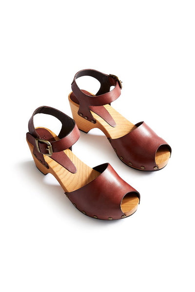 lisa b. Peep Toe Clogs - Acorn