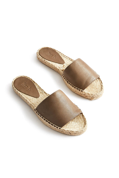 lisa b. Leather Slide Espadrilles - Clay