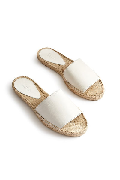 lisa b. Leather Slide Espadrilles - Ivory