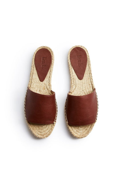 lisa b. Leather Slide Espadrilles - Tan