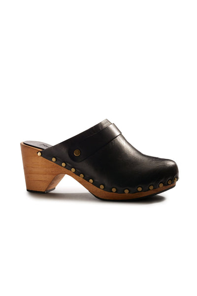 lisa b. High Heel Leather Clogs - Black
