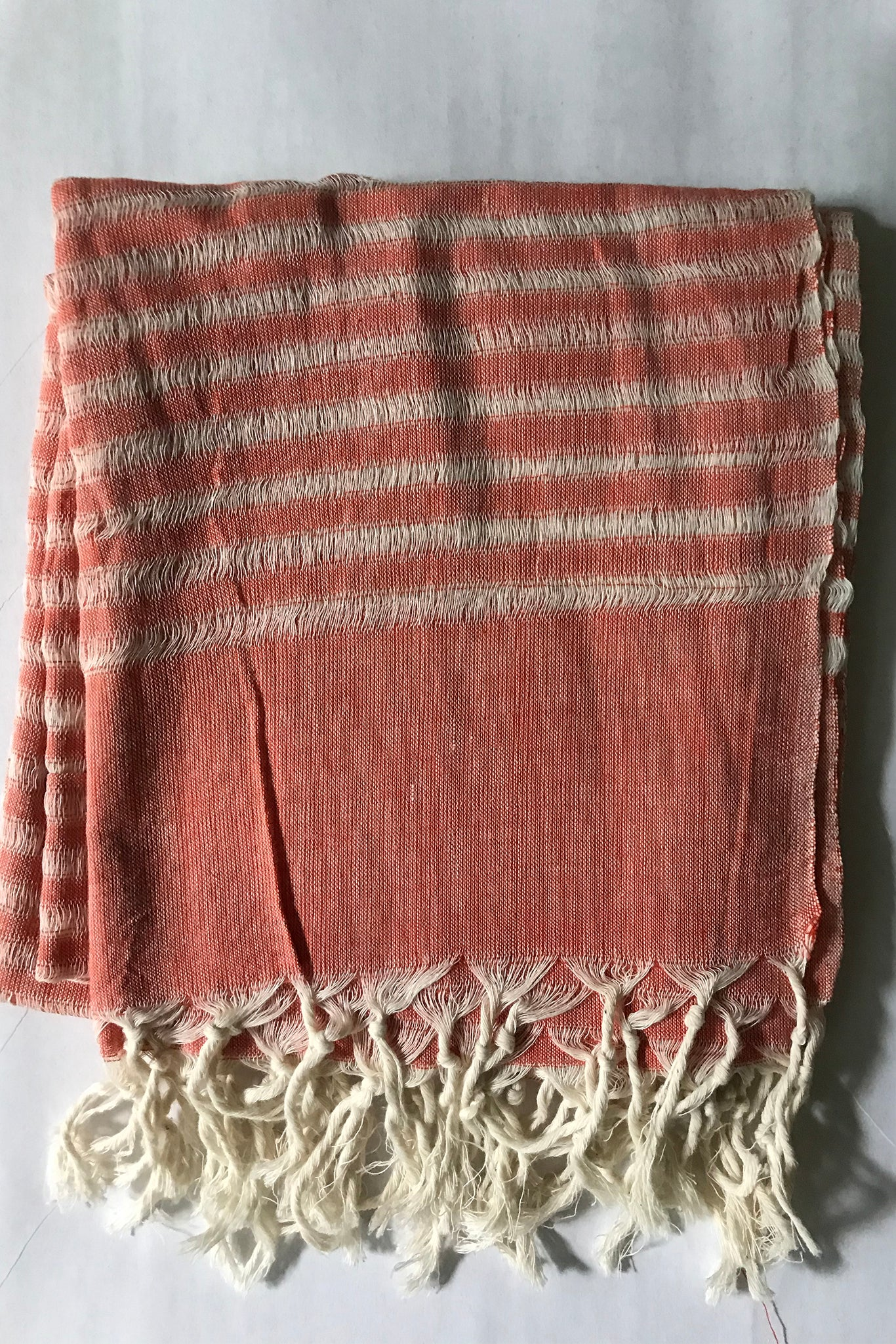 Handloomed Cotton Scarf - Coral
