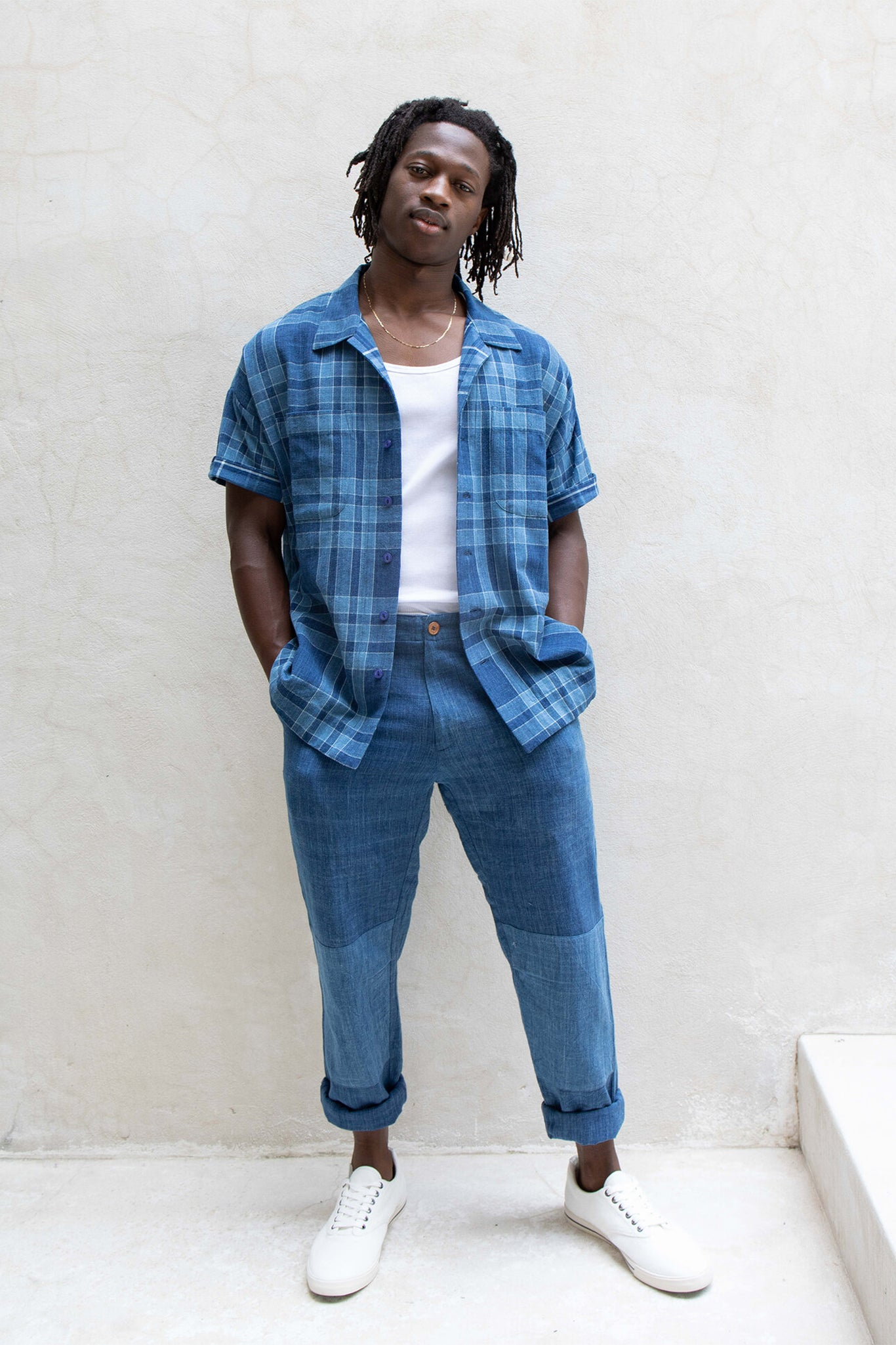 Indi Mak Shirt - Dark Indigo Plaid