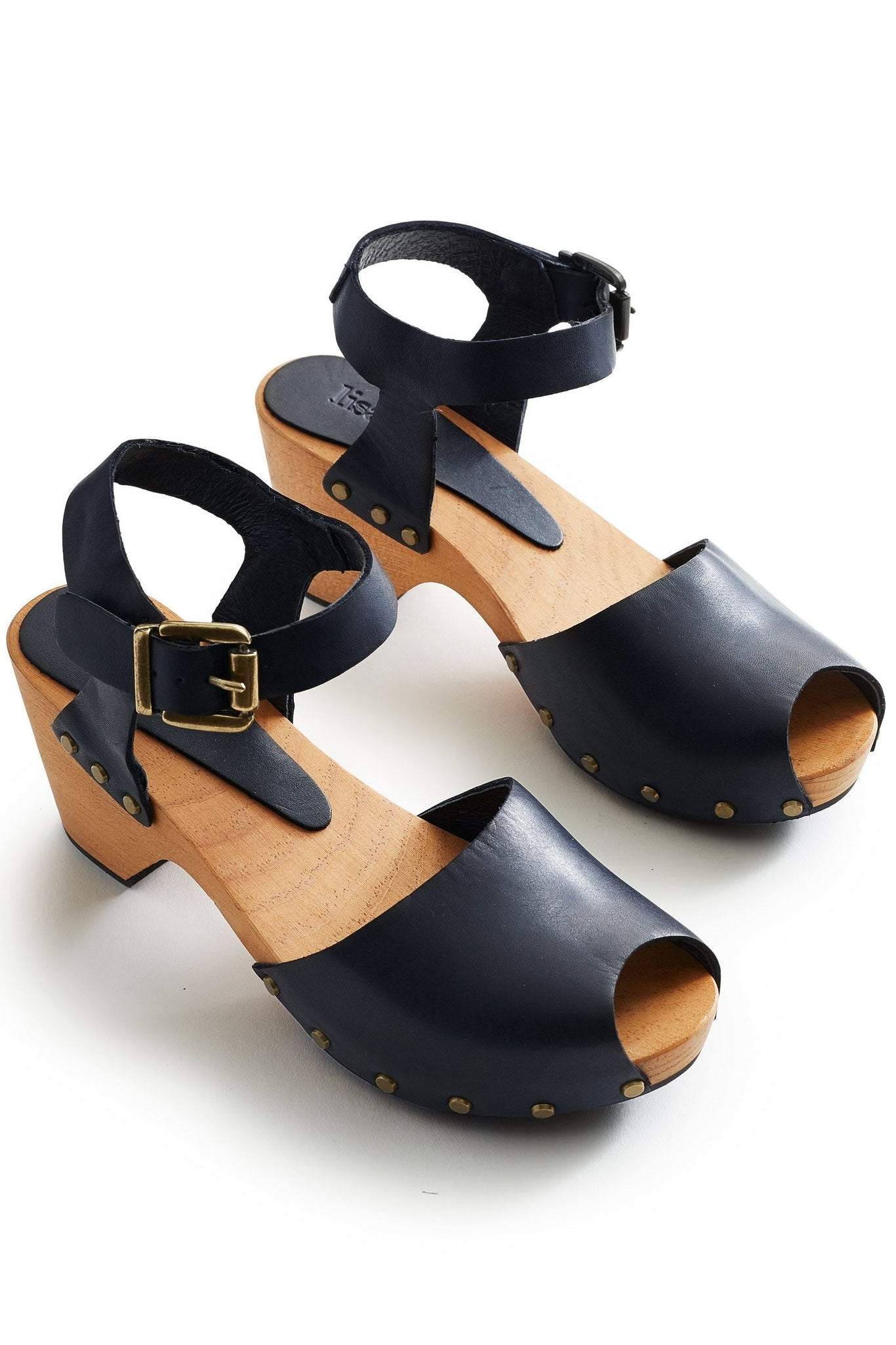 lisa b. Peep Toe Clogs - Dark Navy