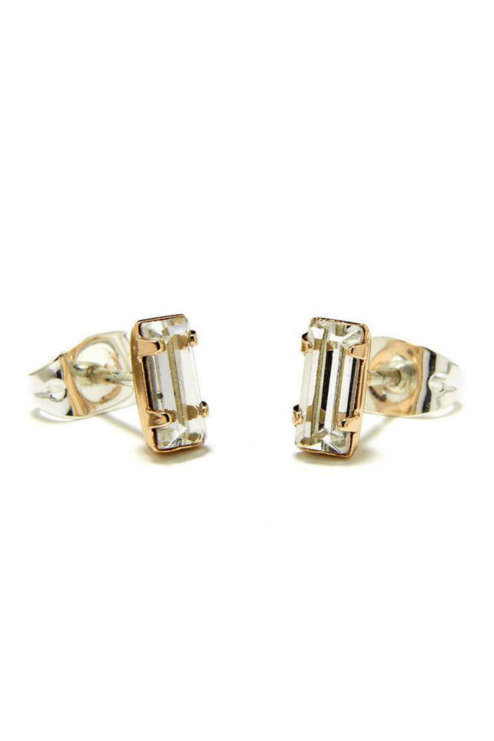 Bing Bang Tiny Baguette Studs - Clear