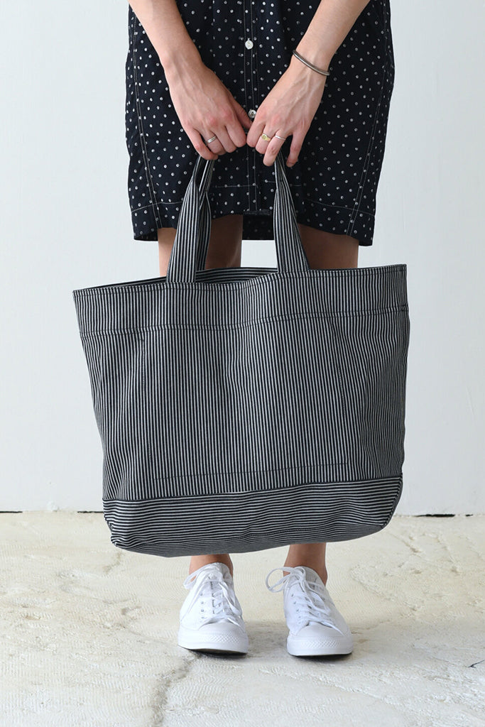 UQNATU Railroad Stripe Tote