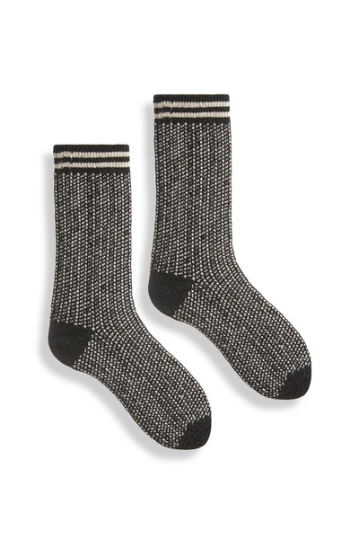 lisa b. Nordic Birdseye Socks - Black