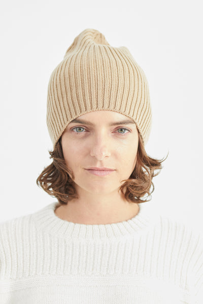 Atlantic Ribbed Merino Camel Beanie