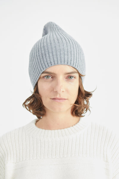 Atlantic Ribbed Merino Grey Beanie