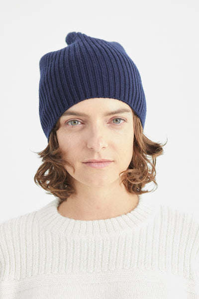 Atlantic Ribbed Merino Navy Beanie