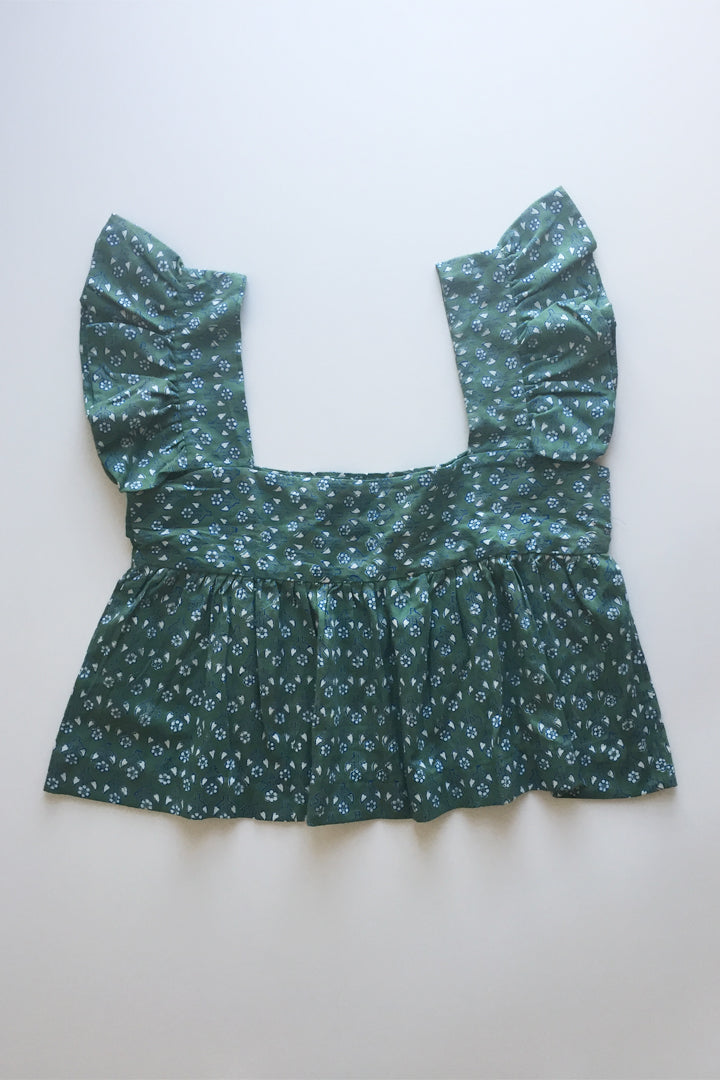 Vintage Indian Block Printed Top - Jade