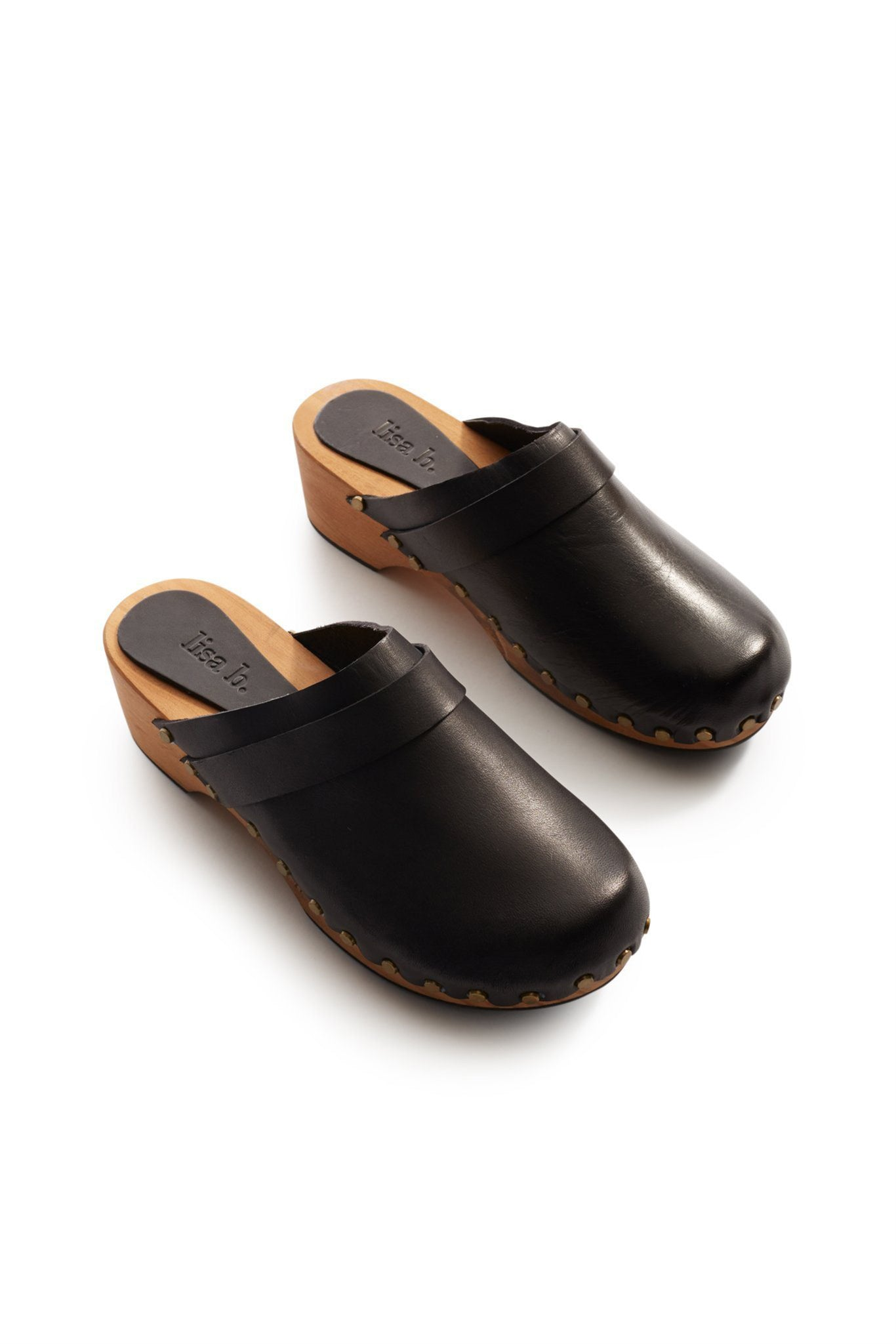 lisa b. Low Heel Leather Clogs - Black