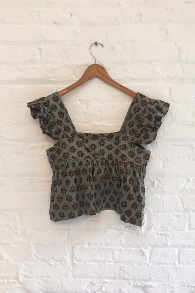 Vintage Indian Block Printed Top -Grey