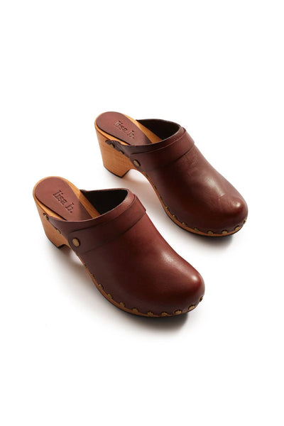 lisa b. High Heel Leather Clogs - Acorn