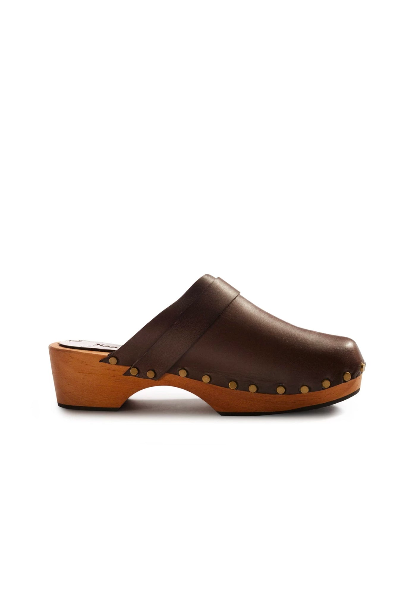 lisa b. Low Heel Leather Clogs - Brown