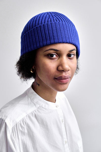 Atlantic Ribbed Merino Cobalt Beanie