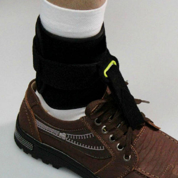 Foot Drop Orthotic attached to shoe to support ankle