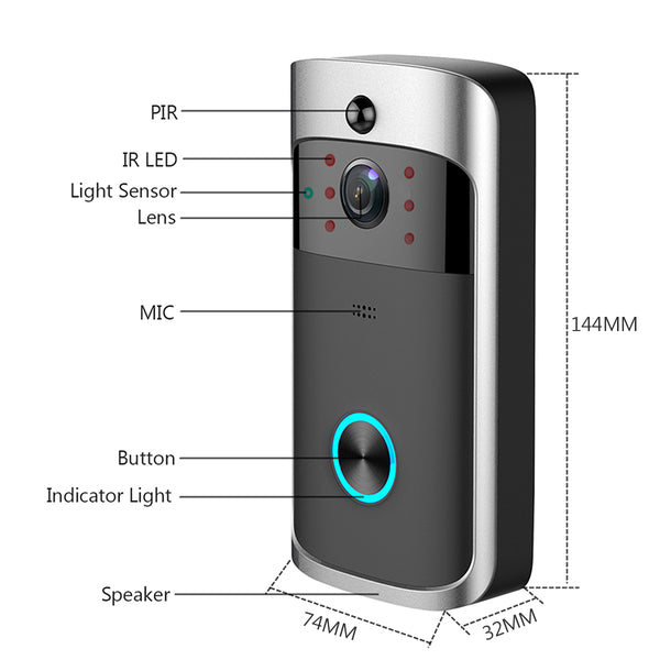 Video Camera Doorbell with labeled parts