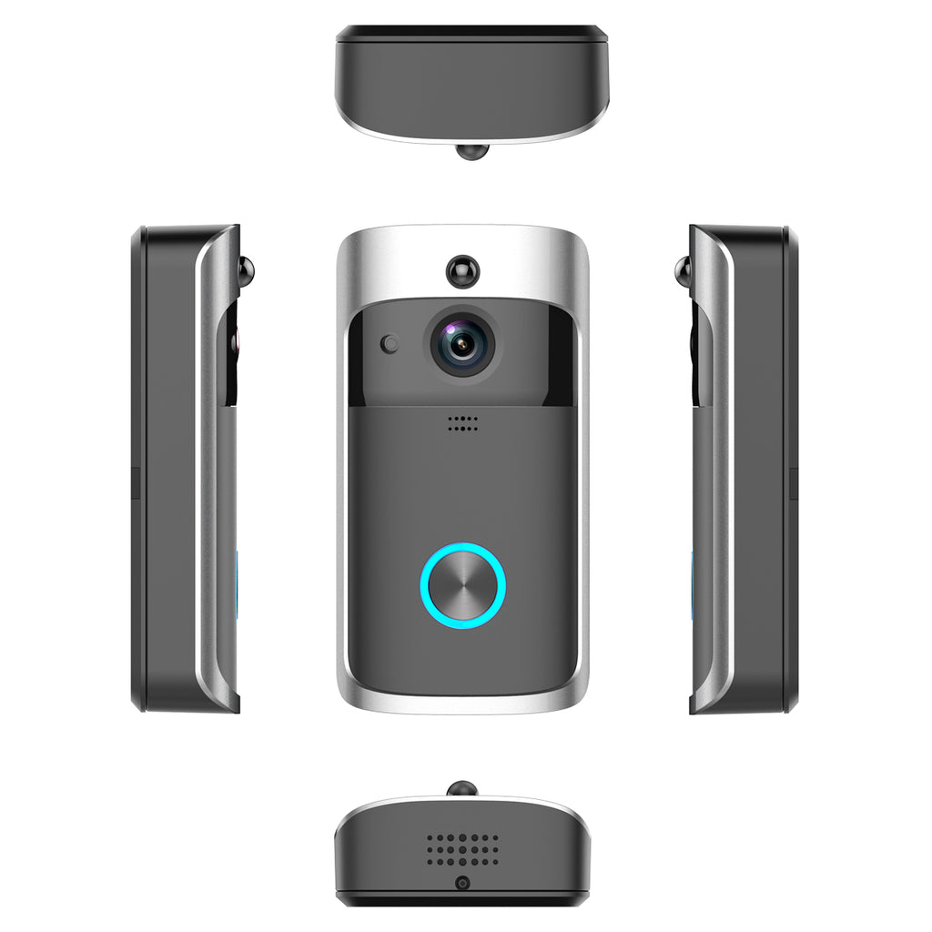 Video camera doorbell seen from front, both sides, top and bottom