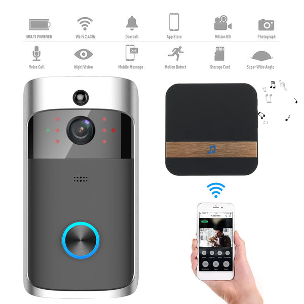 Picture shows the two devices (the video camera doorbell and the wireless connectivity device that communicates with owner's cell phone), a cell phone, and a list of features: Multi powered, Wi-Fi 2.4GHz, Photograph, Voice Call, Night Vision, Motion Detection, Data Storage Card, and Super Wide Angle.