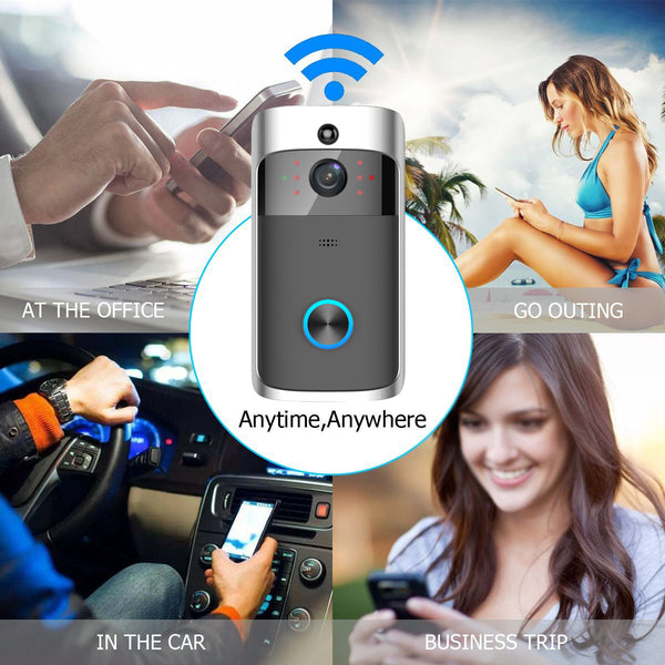 Smart video doorbell communication with owner's phone in four different locations: at the office, going out, in the car, or on a business trip.