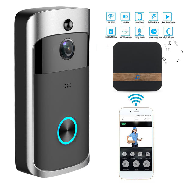 Both pieces of video doorbell system, the phone they are communicating with, and a list of features: 2.4G Wi-Fi, 720P HD, Motion Alarm, Real Time Video, Built in data card, 163 degree wide angle, 2-Way Audio, Long Standby Time, and Night Vision