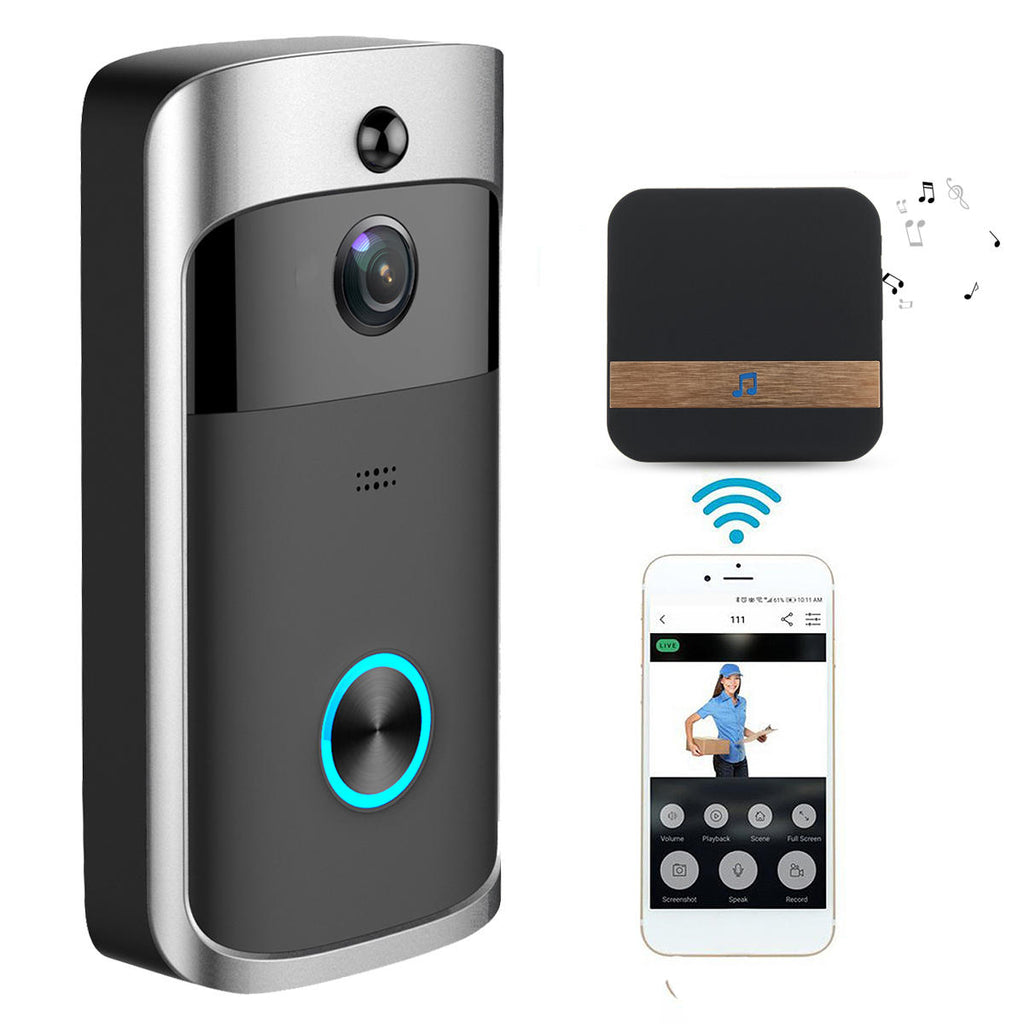 Wireless video doorbell communicates with phone and shows image of person at door