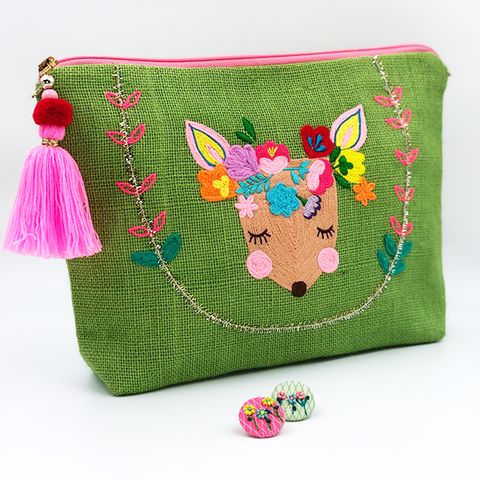 FOREST GREEN JUTE EMB PURSE