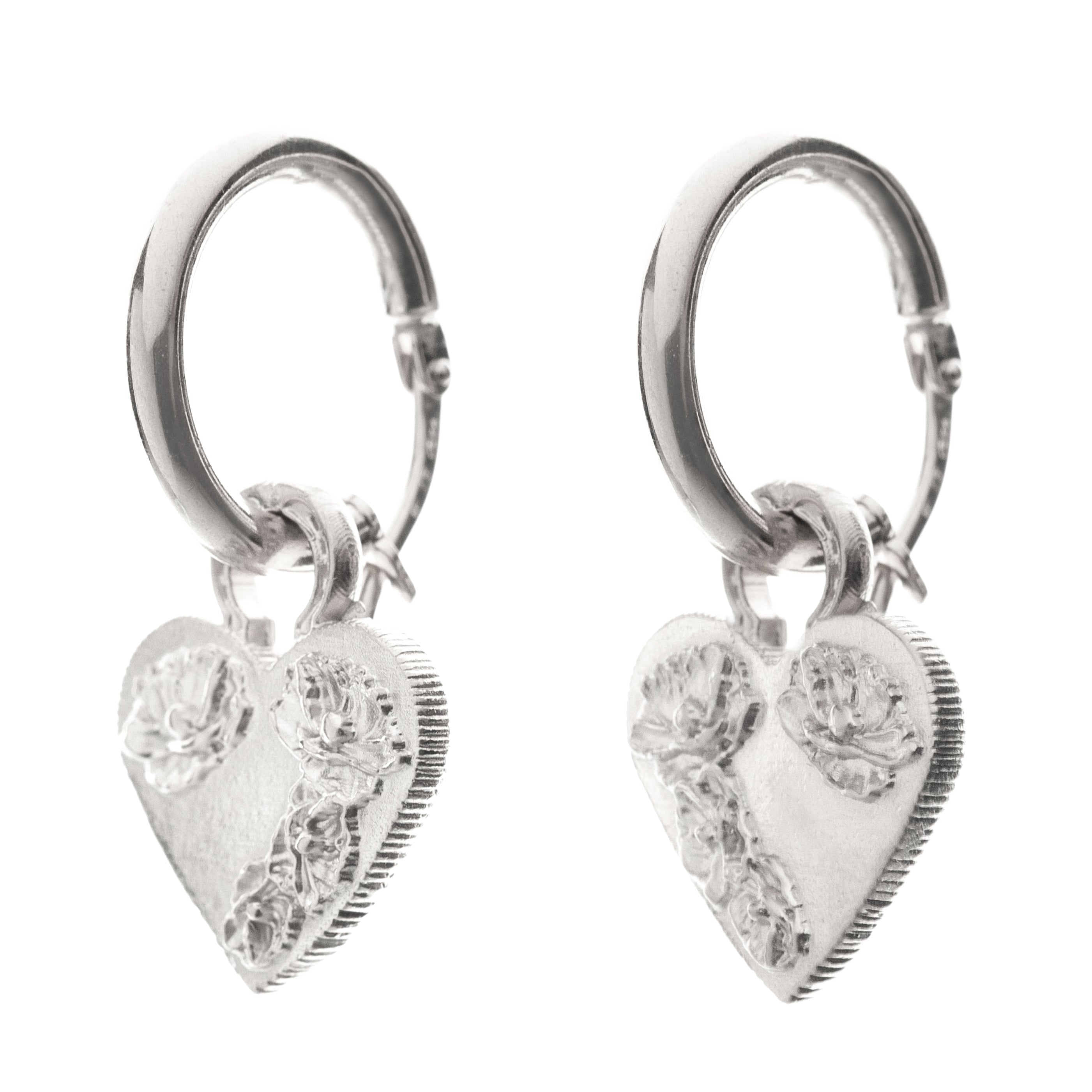 HOOP FLOWER HEART EARRING