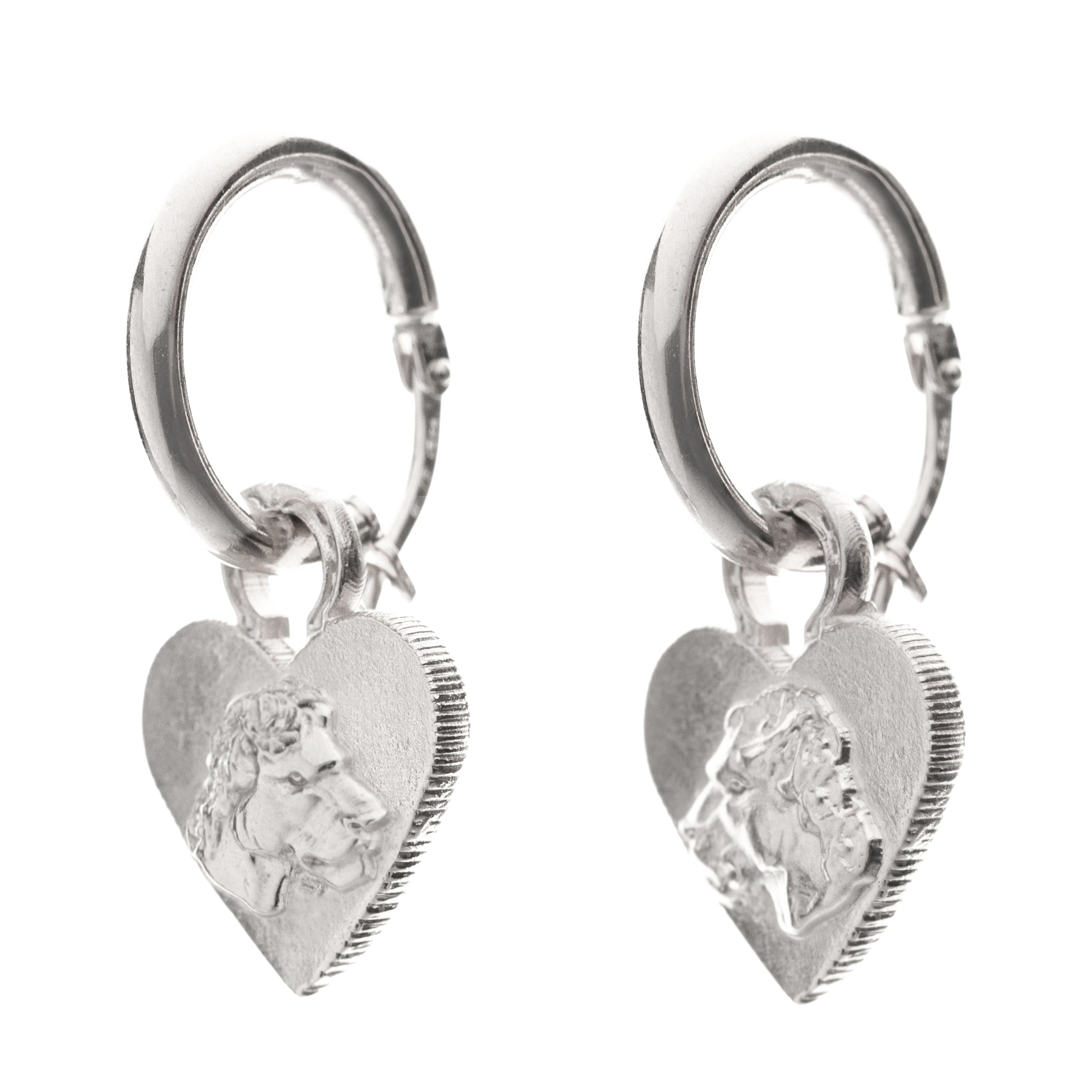 HOOP LIONESS HEART EARRINGS
