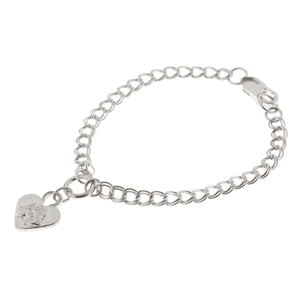 LIONESS HEART BRACELET ON DOUBLE CURB CHAIN