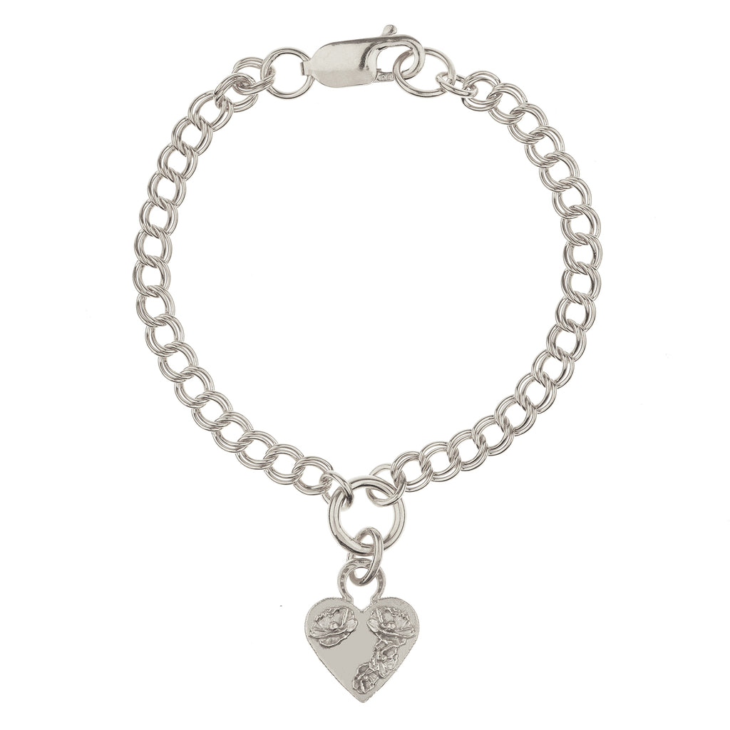 FLOWER HEART BRACELET ON DOUBLE CURB CHAIN