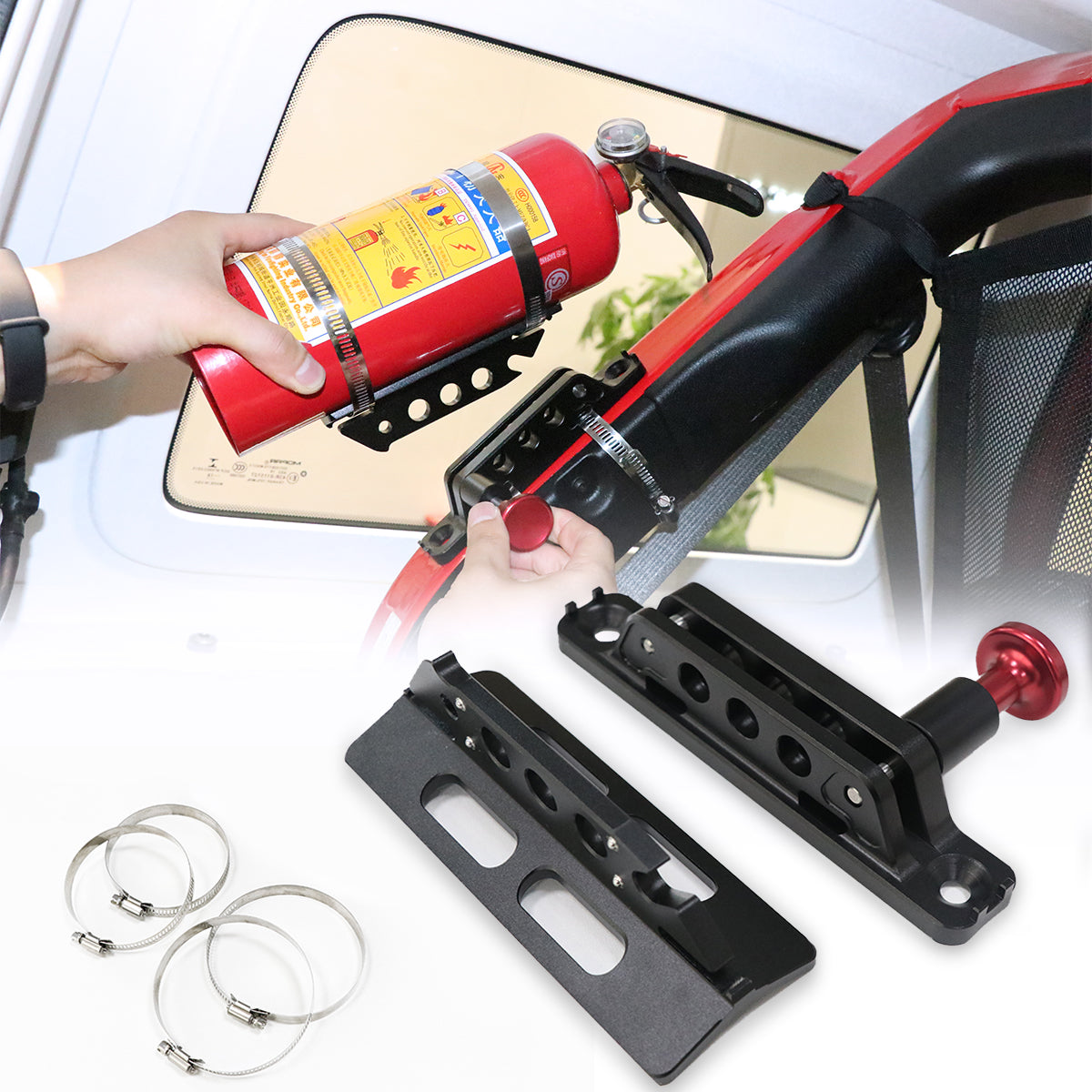 Aluminum Car Trunk Quick-release Fire Extinguisher Fixed Holder Universal Mount