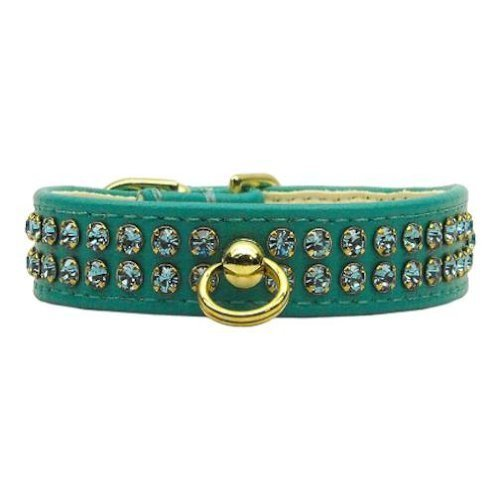 Gold Crown Widget Genuine Metallic Leather Dog Collar Blue 26