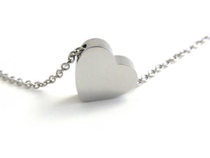 heart charm bead on a stainless steel chain