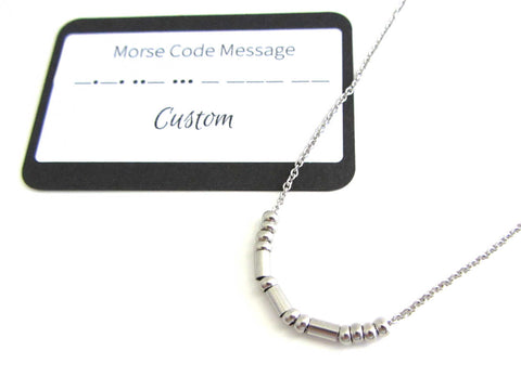 'Sarah' Name Morse Code Necklace With Custom Morse Code Message Card