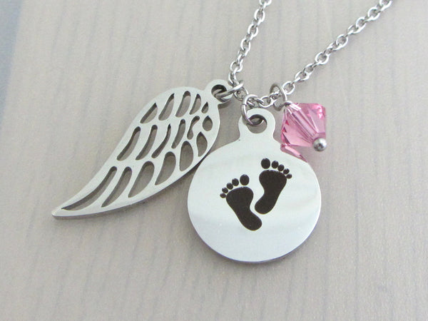 single angel wing charm, laser engraved baby footprints charm with pink crystal on a stainless steel chain