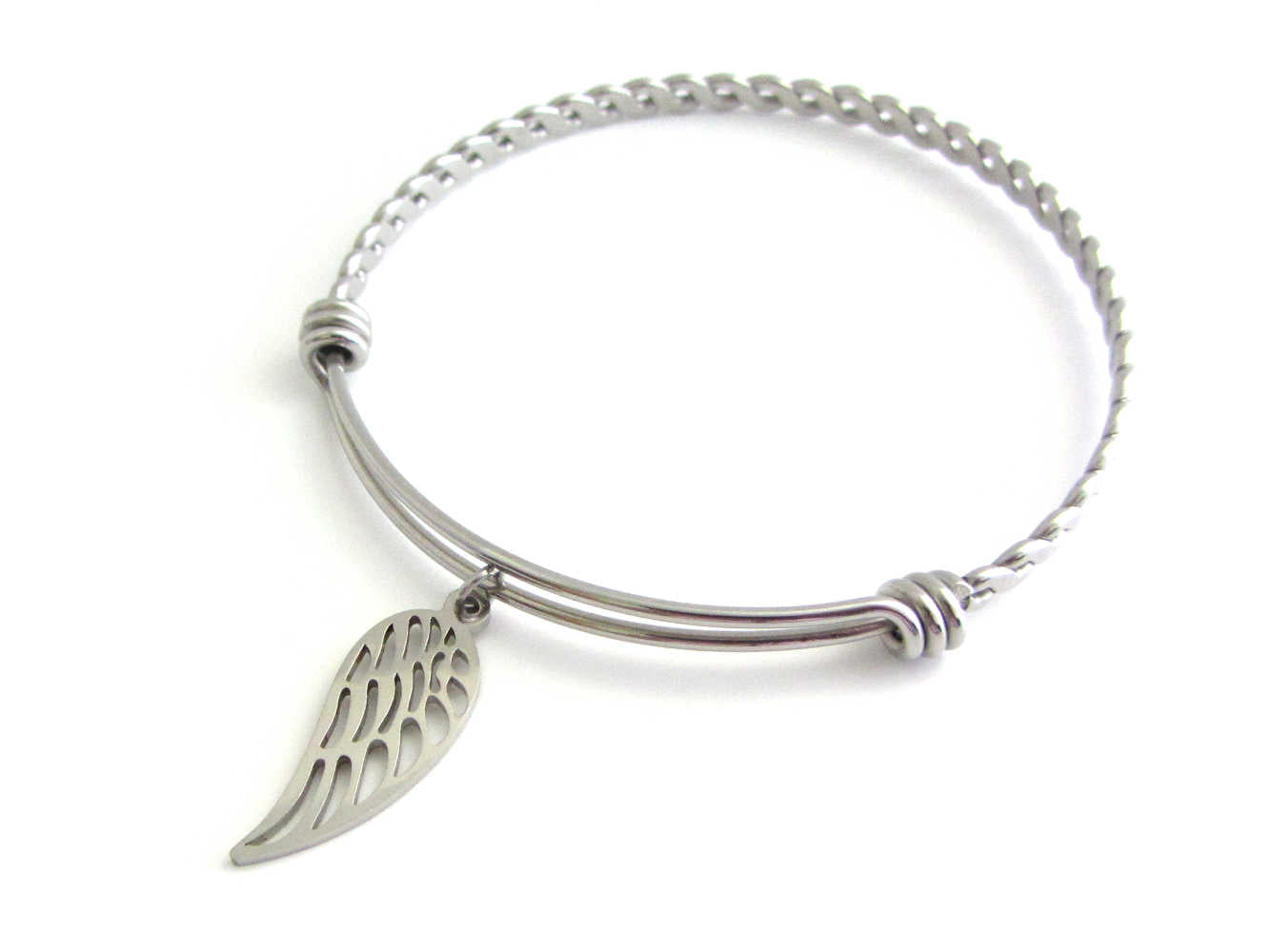 stainless steel single angel wing charm on a bangle with braided twist pattern