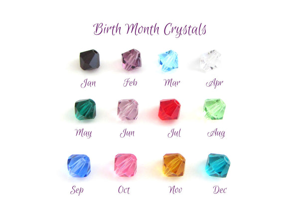 birth month coloured crystal charms