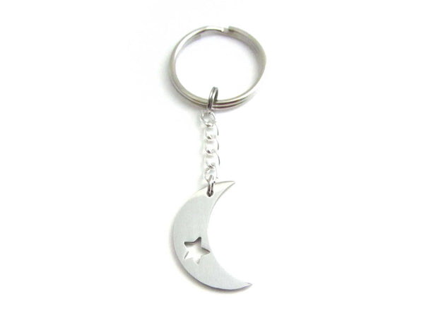 stainless steel crescent moon charm with cut out star on a chain keyring