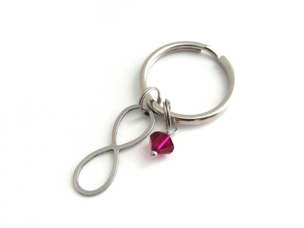 stainless steel infinity charm and a red crystal charm on a keyring