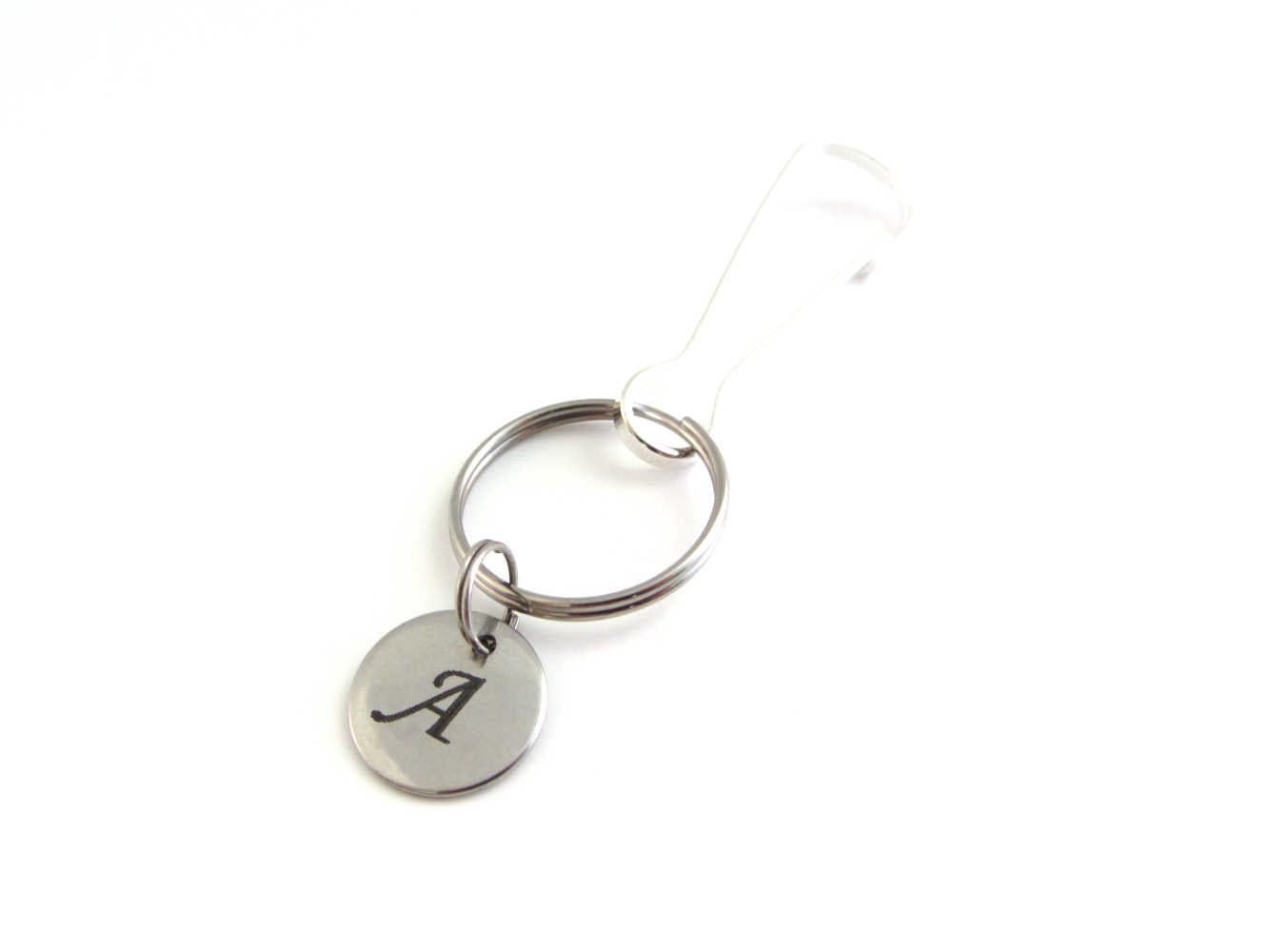 stainless steel laser engraved capital initial letter disc charm on a bag charm with snap clip hook