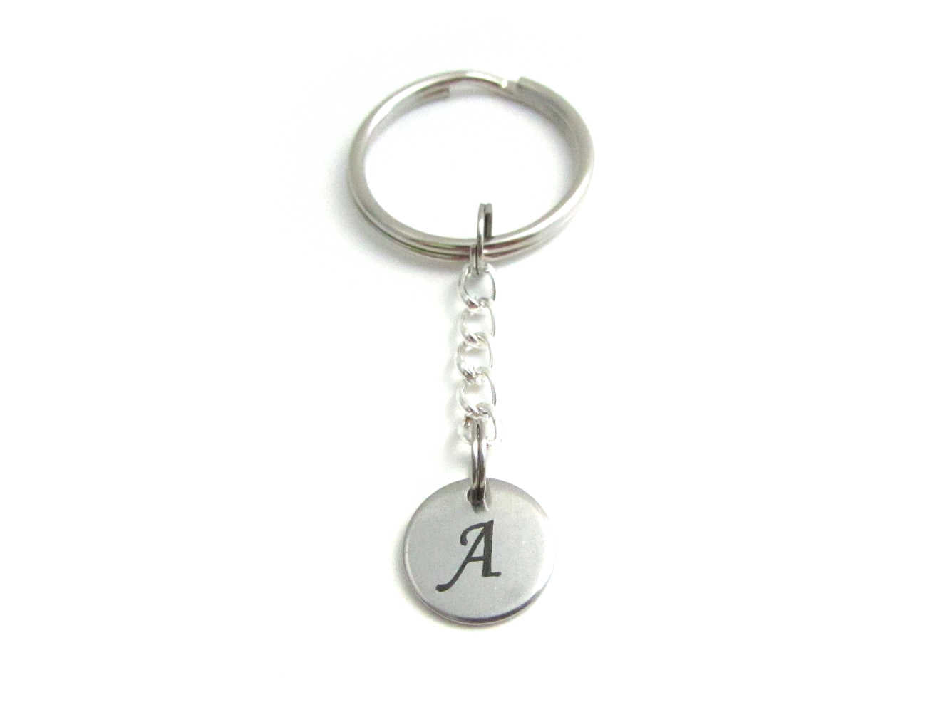stainless steel laser engraved capital initial letter disc charm on a chain keyring