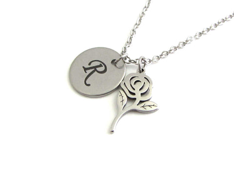 laser engraved capital initial letter disc charm and a rose flower charm on a stainless steel chain